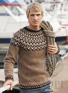 - Icelandic Riddari (Knight) Mens Wool Sweater Brown - Tailor Made - Nordic Store Icelandic Wool Sweaters - 1 pullover herren Riddari (Knight) Mens Wool Sweater Brown Knitting Kits, Fair Isle Knitting, Hand Knitting, Icelandic Sweaters, Wool Sweaters, Brown Sweater, Men Sweater, Sweater Design, Knit Patterns