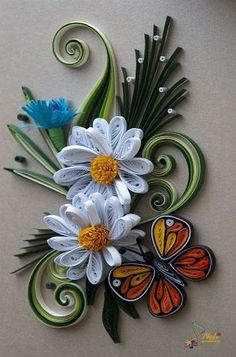 Quilled Butterfly and Daisy, now that I have an accu cut quiller!!!!!