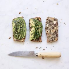 On my lunch table today: homemade bread with nuts & seeds, sliced avocado, rapeseed oil, lemon zest, chives and black lava salt from @shop_ila. #goodfood