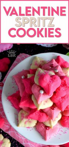 Valentine Spritz Cookies are bright, cheerful, and will bring a smile to anyone's face. These are so easy to make and so delicious too! Break out your sprinkles and have some fun!! #valentinebaking #valentinecookies #pinkrecipes #spritzcookies #cookies #valentinetreats Pan Cookies, Spritz Cookies, Cookies Et Biscuits, Easy Cookie Recipes, Dessert Recipes, Bar Recipes, Valentines Baking, Valentines Recipes, Family Meals