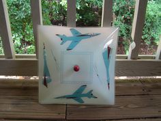 Vintage Children's Blue and Red Airplane Light Fixture. $34.99, via Etsy.