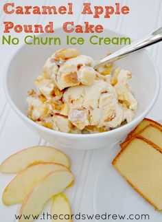 Caramel Apple Pound Cake No Churn Ice Cream made with Sara Lee Pound Cake from @absred2000.