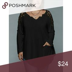 Plus Size Lace Tshirt. Long sleeve lace Tshirt. Features a v neck and laced shoulders. Assymetric hemline. With a pocket. Please ask for measurements!  Sleeves are actually three quarter sleeves not long.   XL fits size 14. 2X fits size 16. 3X fits size 18. Tops Tees - Long Sleeve