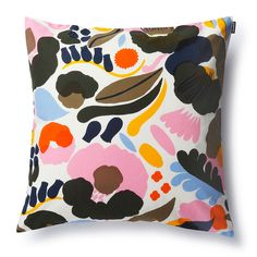 The impressionistic floral design on the Marimekko Hattarukukka Throw Pillow is bound to leave an impression. The 100% cotton cover is easily removed from the complimentary insert and washed by means o