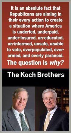 The Kochs are longtime libertarians who believe in drastically lower personal and corporate taxes, minimal social services for the needy, and much less oversight of industry—especially environmental regulation.