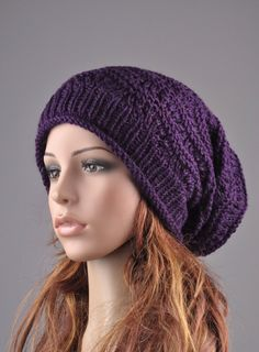 Hand knit hat - Deep purple Chunky Hat, weaving pattern, slouchy hat, wool hat by MaxMelody on Etsy https://www.etsy.com/listing/84964204/hand-knit-hat-deep-purple-chunky-hat