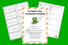 St. Patty's Day math freebie - comparison symbols (3rd-4th grade level)