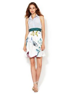 CrOp by David Peck Winnie Pleated Combo Dress