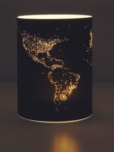 DIY world map pinhole lampshade
