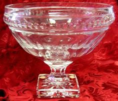 """$139.99 startin bid. Val St Lambert Crystal Signed Coupe Etna Large Compote Bowl 9""""H"""