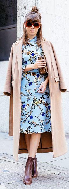 Margo & Me Camel Booties Camel Coat Blue Floral Dress Fall Inspo