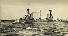 HMS Agincourt showing all 7 of her gun turrets named for the days of the week contrary to standard Naval alphabetical designation. Gun Turret, Man Of War, Nautical Art, Big Guns, Navy Ships, Model Ships, Historical Pictures, Royal Navy, Water Crafts