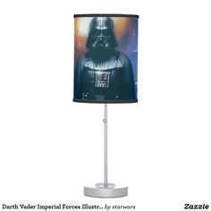 Darth Vader Imperial Forces Illustration Table Lamp Star Wars Darth, Darth Vader, Scandinavian Lamps, Red Lightsaber, Country Lamps, White Table Lamp, Lamp Table, Farmhouse Lamps, Incandescent Light Bulb