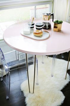 DIY pink table from A Beautiful Mess