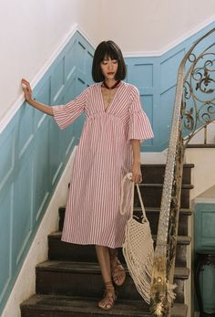 Holiday Queen V-Neck Striped Vacation Dress | Bohointernal.com