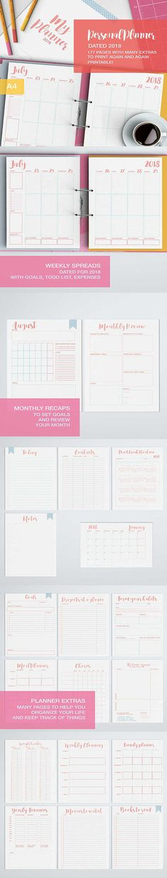 A new, completely reworked 2018 weekly planner that now focuses much more on personal goals settings and reviews! with its 177 pages contains everything youll need to lead an ordered and meaningful life where you get at a glance what its really important for you! It includes an habit forming template and a dont break the chain calendar, a Time-square to help you sort out your priorities and goals planner, chores planners, and daily expense trackers and yearly budget and so and so...