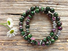Natural Ruby Zoisite Gemstone Bracelet Set, Unique Gift, Birthday, Christmas by TJBsimplebeauty on Etsy