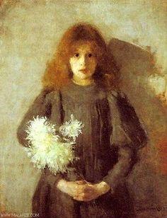 Boznanska, Olga - 1894 Girl with Chryanthemums (National Museum, Krakow, Poland) (by RasMarley) Famous Portraits, Legion Of Honour, True Art, National Museum, Art Boards, Painting & Drawing, Artsy, Drawings, Polish