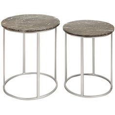 set of two accent tables with open metal small