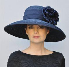 Wide Brim Hat, Wedding Hat, Ladies Navy Hat, Derby Hat, Church Hat, Mother of Bride Hat, Audrey Hepburn Hat, Formal Hat, Elegant Dressy Hat