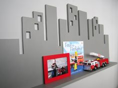Hey, I found this really awesome Etsy listing at https://www.etsy.com/listing/181746836/cityscape-wall-shelf-large-gray