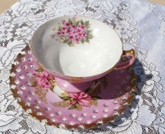 Vintage Royal Halsey L M Orchid Tea cup and SAucer  1960'-70's