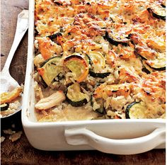 Chicken and Rice casserole with zucchini and squash! 4 servings for 10 dollars, 337 cal/serving