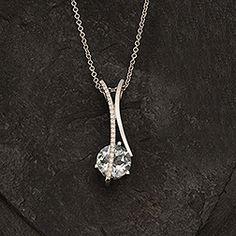 Aquamarine & Diamond Pendant, 14k White Gold. #SomethingBlue