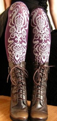 Printed Tights Art Nouveau Pattern Purple and Silver