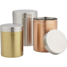 3-piece mixed metal canister set  | CB2 $25 http://www.cb2.com/3-piece-mixed-metal-canister-set/s208489