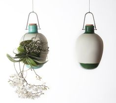 at salone del mobile 2015, dossofiorito present 'epiphytes', a collection of suspended vases which offer an alternative to the potted cultivation of epiphytic houseplants by making visible not only the leaves and flower part of the plant, but its roots.