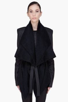 GARETH PUGH // BLACK MOHAIR ALPACA LEATHER JACKET