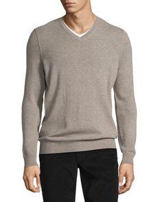 Cashmere Long-Sleeve V-Neck Sweater, Heather Maple