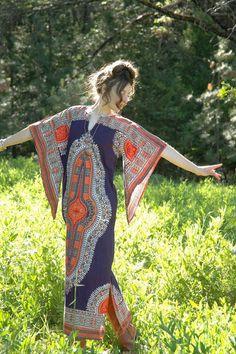 Maxi Dashiki Kimono Sleeves Cotton Gypsy Boho by AstralBoutique, $68.00