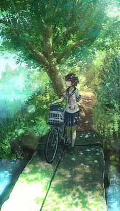 """The Art Of Animation, Anaita"" anime girl forest bike path serene nature lake tree shade cool green blue earth Anime Art Beautiful, Animation Art, Anime Scenery, Animation, Art, Pictures, Anime Characters, Anime Artwork, Scenery"