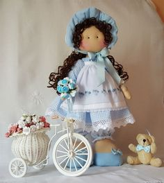 Blog de trabajos de María José Veira. Patchwork, calceta, ropita, muñecos, capotas, manteles, cortinas, bordados, ganchillo. Labores artesanales. Waldorf Dolls, Doll Crafts, Fabric Dolls, Beautiful Dolls, Art Dolls, Projects To Try, Flower Girl Dresses, Teddy Bear, Sewing