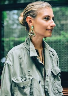 Jenny Walton in statement earrings Statement Earrings Outfit, Jcrew Earrings, Stud Earrings, Green Earrings, Statement Jewelry, Diamond Earrings, Julia Sarr Jamois, Loose Chignon, Caroline Daur
