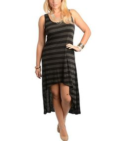 Look what I found on #zulily! Black & Charcoal Stripe Hi-Low Dress - Plus #zulilyfinds