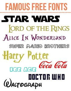 Famous free fonts to download! From Harry Potter to Stars Wars to Lord of the Rings!