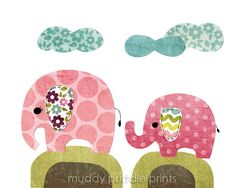nursery Art Nursery decor elephant art print by MuddyPuddlePrints, $14.00