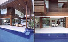 casa com esquadrias de pvc com acabamento de madeira