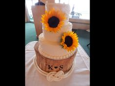 Sunflower Tier Cake, Roughed Icing, Tree Stump Stand Tier Cake, Tree Stump, Beautiful Cakes, Icing, Our Wedding, Pretty Cakes