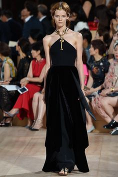 Black Velvet Haltered Styled and Layered Bottom Evening Gown by Valentino Fall 2015 Couture Collection Photos - Vogue