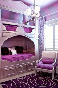 These fabulous and fashionable girls' bedrooms in purple sure steal the spotlight as they inspire you to incorporate similar cool shades into your home.