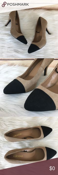 "✨ Forever 21 color block heels ✨Newly listed items are priced to move.. please help me clear out my actual closet 😉  Preloved / Forever 21 tan and black color block heels Size 10, fits true to size Slip on closure  Heel height: 3.75"" *Bottoms and fabric show wear *see up close pics of scraping discoloration on fabric *Comes without shoebox but will be packaged in a usps shipping box.  ✨Build a bundle with all your likes and use the automatic bundle discount -or- make me a bundle offer✨…"