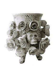 ceramics design by Carl Richard Söderström Ceramic Pottery, Ceramic Art, Crane, Flower Skull, Ceramics Projects, White Clay, Vanitas, Sculpture Art, Ceramic Sculptures