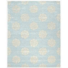 @Overstock - This stylish light blue wool area rug will instantly modernize your home. The thick wool pile will feel delightfully soft on your feet, while the rug protects your floor. The subtle blue and ivory tones will suit any room's color scheme. http://www.overstock.com/Home-Garden/Handmade-Soho-Medallion-Light-Blue-New-Zealand-Wool-Rug-6-x-9/4822105/product.html?CID=214117 $263.00