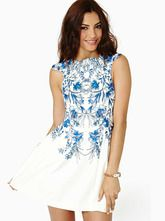 White Sleeveless Blue Floral Chiffon Dress - Sheinside.com