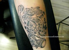 """Times waits for no one"" Pocket watch with roses and hour glass tattoo on arm"