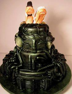 This HR Giger/Alien wedding cake from Jet City Cakes in Kirkland, WA, is bursting with delightfulness! Giger Cake (Thanks, RickKleffel! Crazy Wedding Cakes, Unusual Wedding Cakes, Themed Wedding Cakes, Amazing Wedding Cakes, Crazy Cakes, Amazing Cakes, Cake Wedding, Wedding Decor, Wedding Ideas